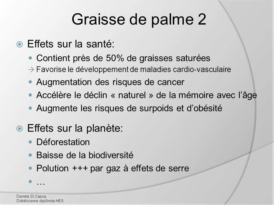 Graisse de palme 2 Effets sur la santé: Contient près de 50% de graisses saturées Favorise le développement de maladies cardio-vasculaire Augmentation