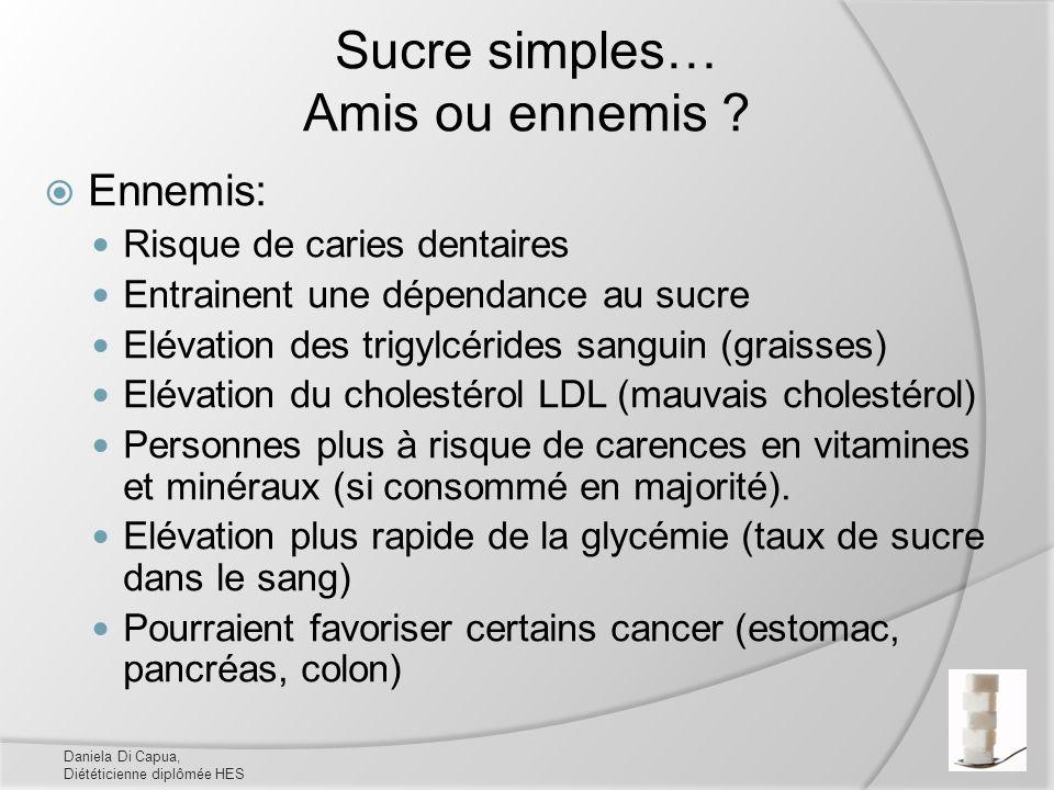 Sucre simples… Amis ou ennemis ? Ennemis: Risque de caries dentaires Entrainent une dépendance au sucre Elévation des trigylcérides sanguin (graisses)