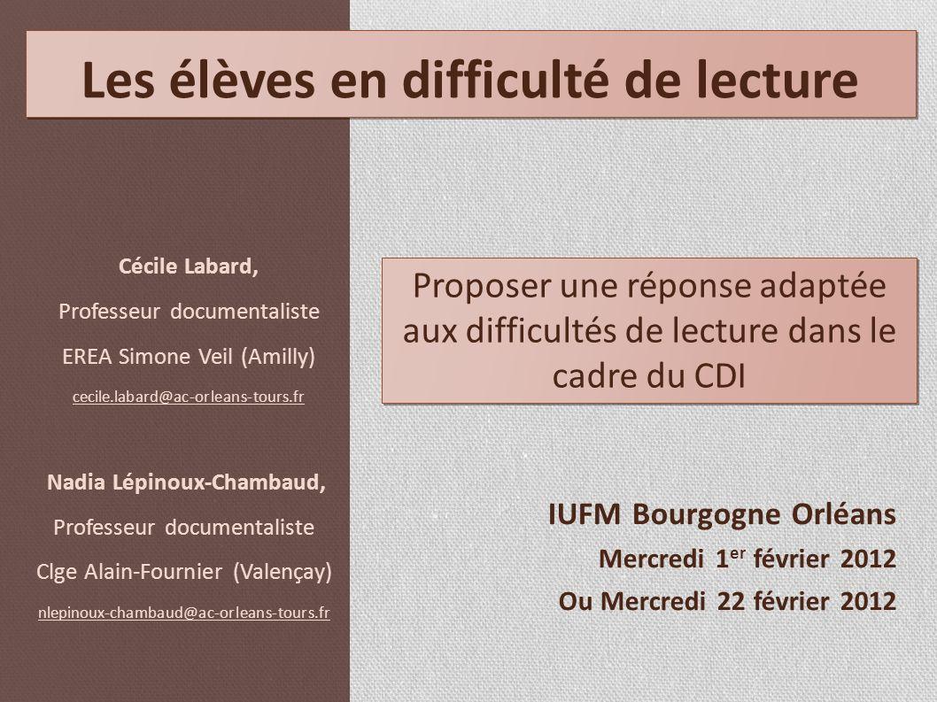 IUFM Bourgogne Orléans Mercredi 1 er février 2012 Ou Mercredi 22 février 2012 Cécile Labard, Professeur documentaliste EREA Simone Veil (Amilly) cecil