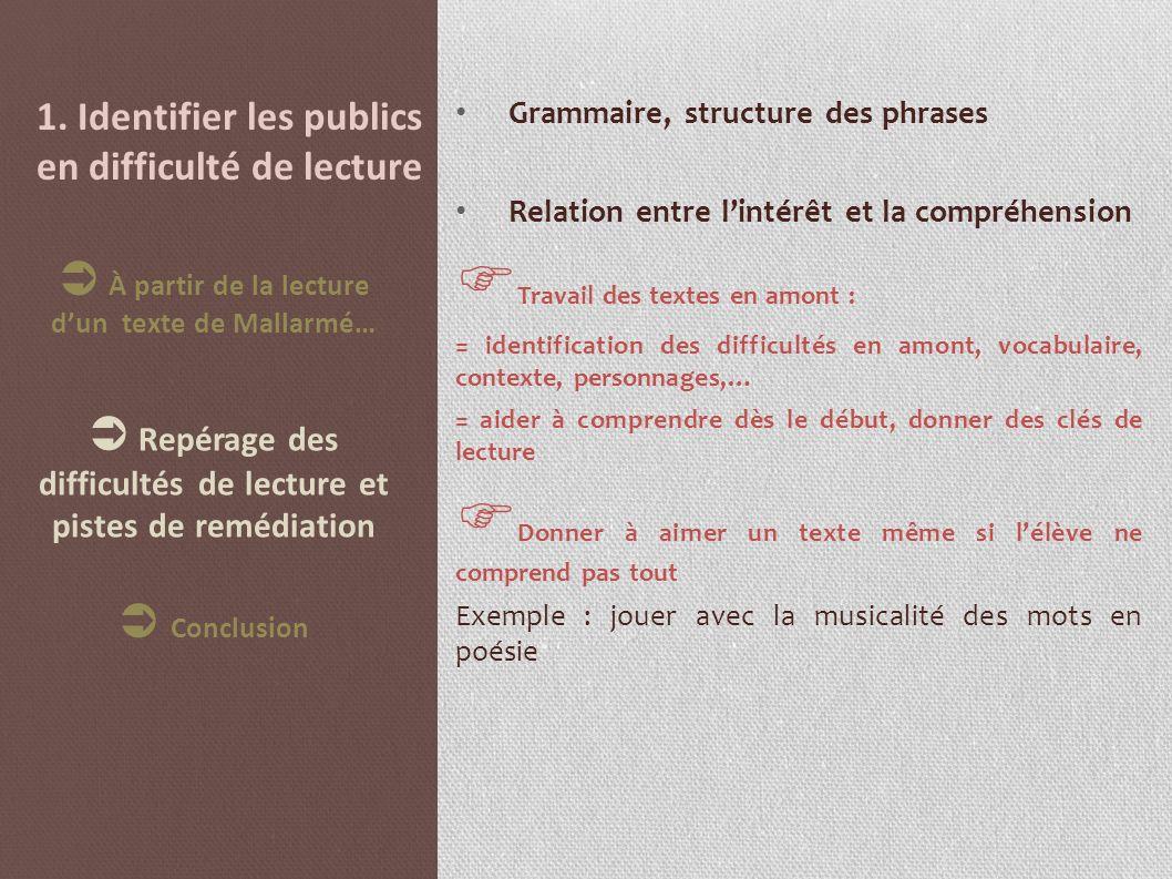 1. Identifier les publics en difficulté de lecture Grammaire, structure des phrases Relation entre lintérêt et la compréhension Travail des textes en
