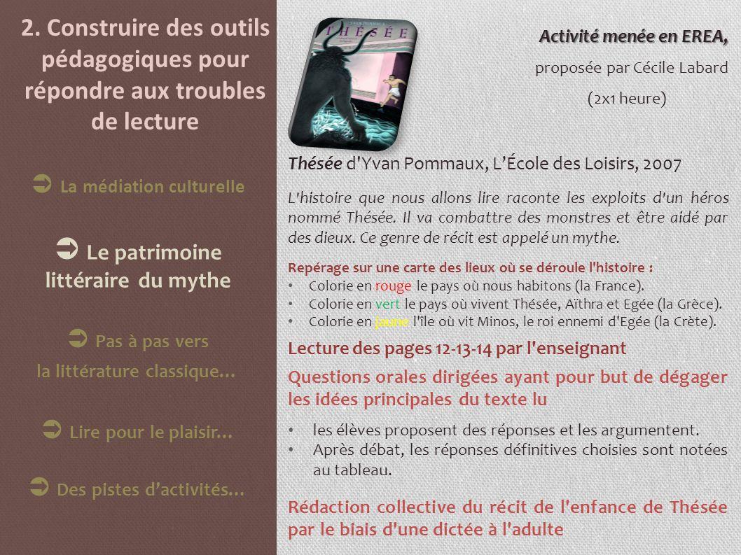 2. Construire des outils pédagogiques pour répondre aux troubles de lecture Activité menée en EREA, proposée par Cécile Labard (2x1 heure) Thésée d'Yv
