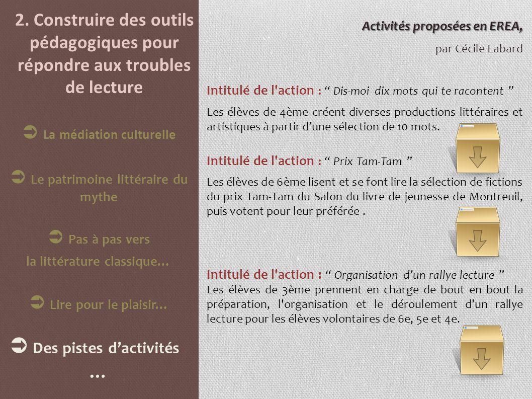 2. Construire des outils pédagogiques pour répondre aux troubles de lecture Activités proposées en EREA, par Cécile Labard Intitulé de l'action : Dis-
