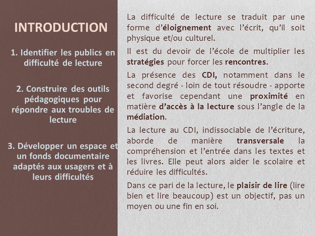 INTRODUCTION La difficulté de lecture se traduit par une forme déloignement avec lécrit, quil soit physique et/ou culturel. Il est du devoir de lécole