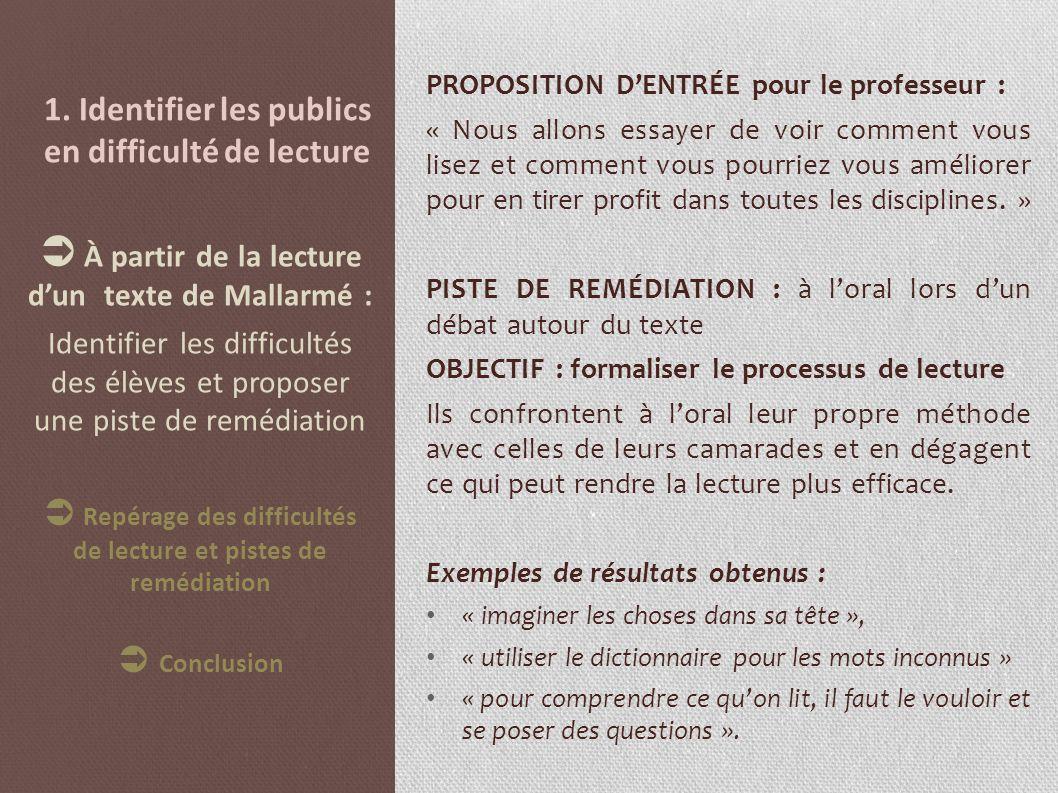 1. Identifier les publics en difficulté de lecture PROPOSITION DENTRÉE pour le professeur : « Nous allons essayer de voir comment vous lisez et commen