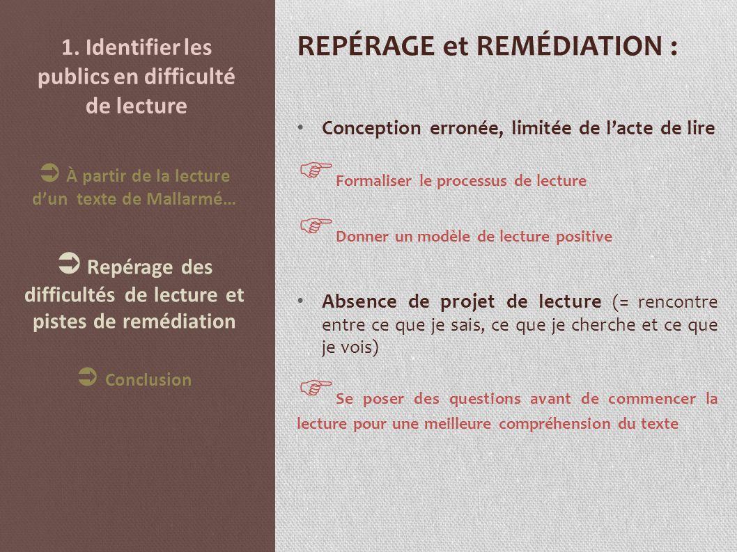 1. Identifier les publics en difficulté de lecture REPÉRAGE et REMÉDIATION : Conception erronée, limitée de lacte de lire Formaliser le processus de l