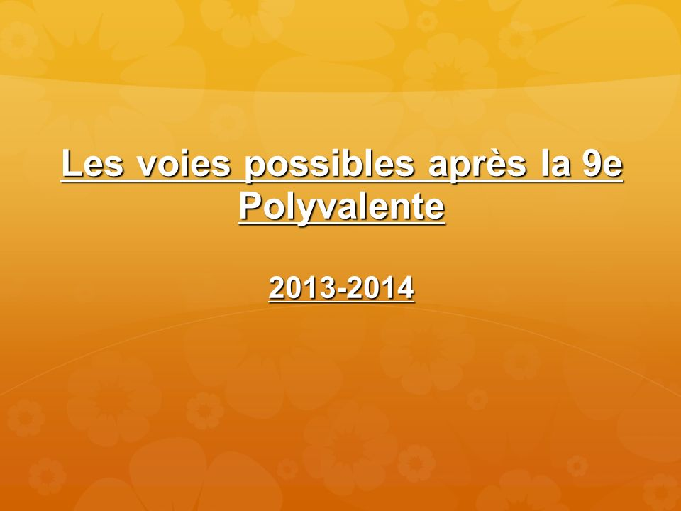 Les voies possibles après la 9e Polyvalente 2013-2014
