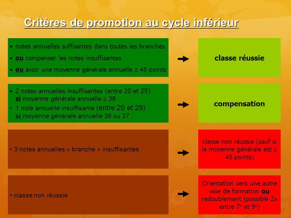 Critères de promotion au cycle inférieur notes annuelles suffisantes dans toutes les branches ou compenser les notes insuffisantes ou avoir une moyenn