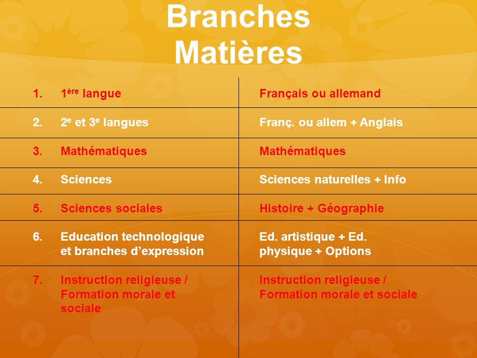 Branches Matières Français ou allemand Franç. ou allem + Anglais Mathématiques Sciences naturelles + Info Histoire + Géographie Ed. artistique + Ed. p