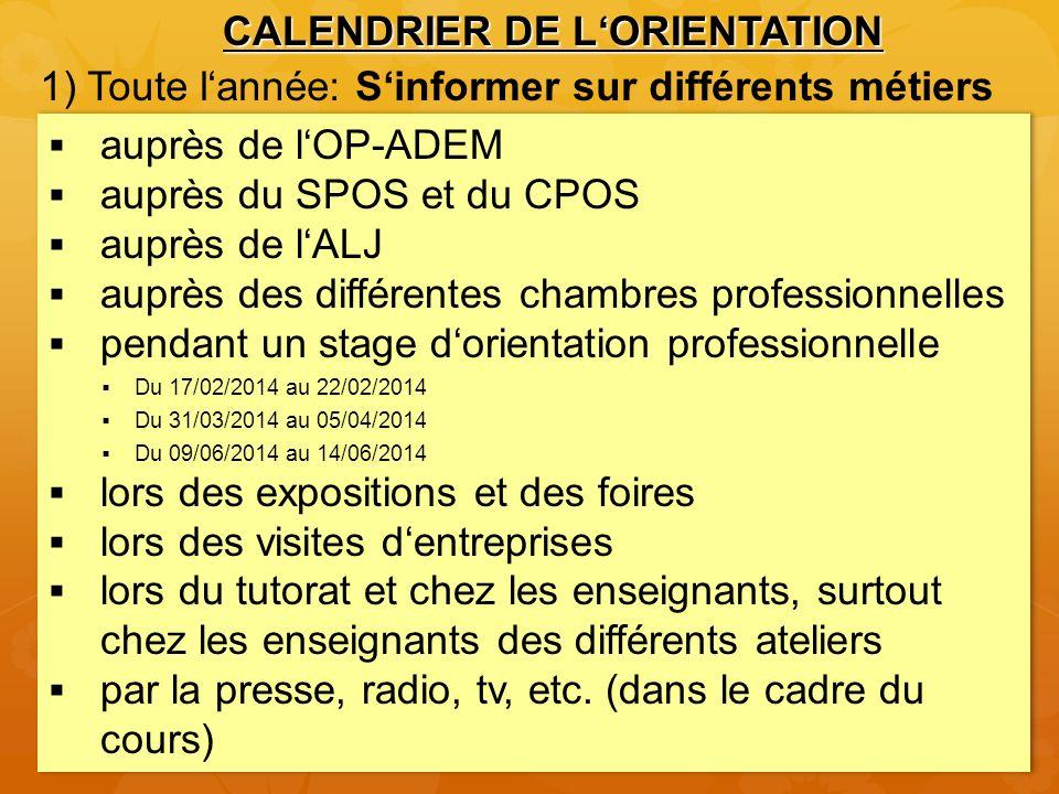 Calendrier des classes 9e 1) Pendant toute lannée: Sinformer sur différents métiers 4) À partir de mars: Déclarat ion des postes dappre ntissage vacants 8) Proposit.