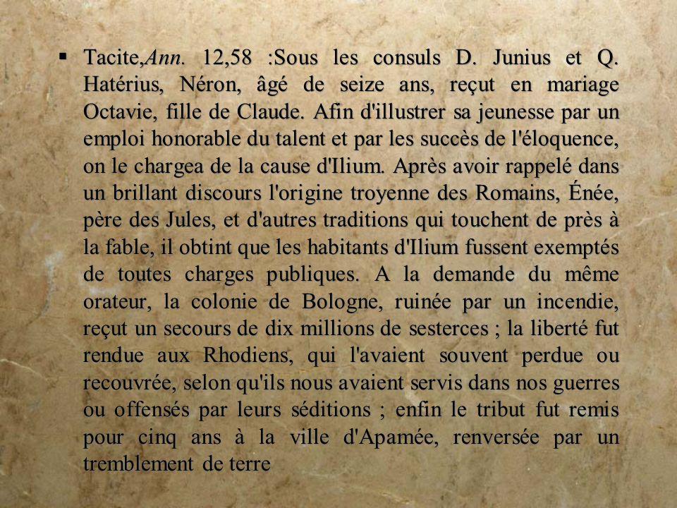 Tacite,Ann.12,58 :Sous les consuls D. Junius et Q.