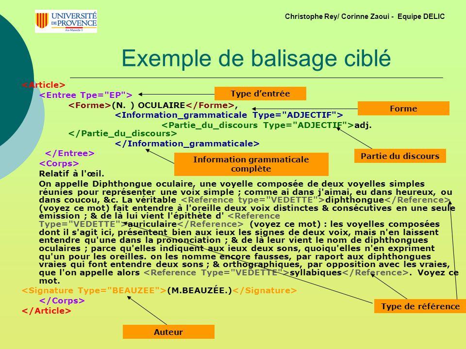 Exemple de balisage ciblé (N.) OCULAIRE, adj. Relatif à l œil.
