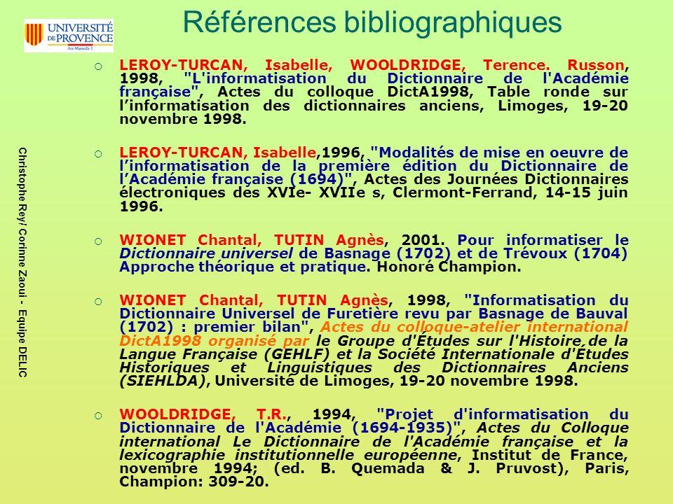 Références bibliographiques LEROY-TURCAN, Isabelle, WOOLDRIDGE, Terence.