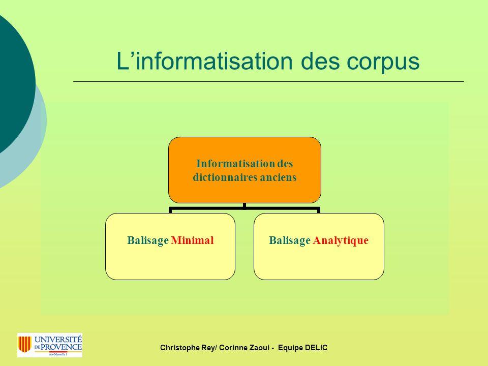 Linformatisation des corpus Informatisation des dictionnaires anciens Balisage MinimalBalisage Analytique Christophe Rey/ Corinne Zaoui - Equipe DELIC
