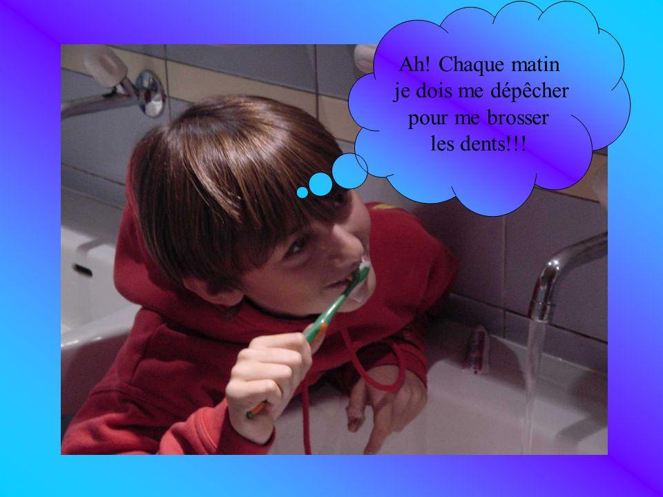 Ah! Chaque matin je dois me dépêcher pour me brosser les dents!!!