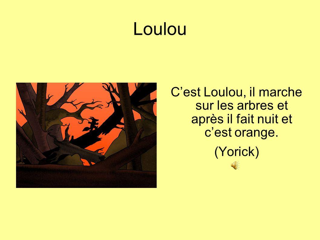 Loulou Cest Loulou, il marche sur les arbres et après il fait nuit et cest orange. (Yorick)