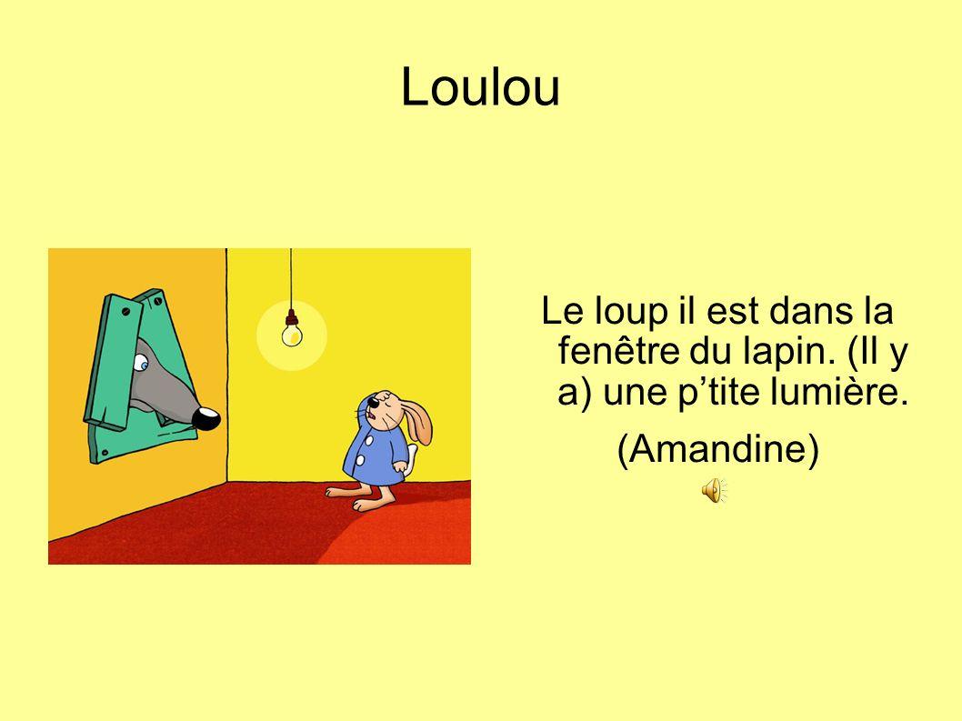 Loulou Le loup il est dans la fenêtre du lapin. (Il y a) une ptite lumière. (Amandine)