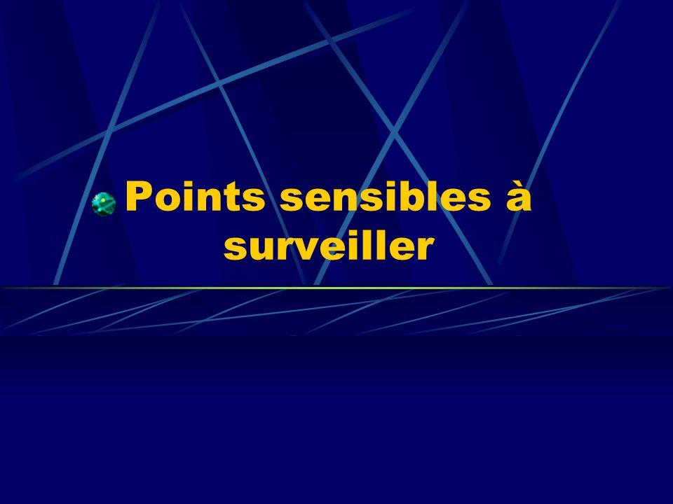 Points sensibles à surveiller