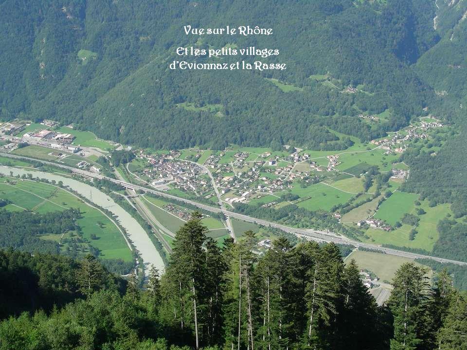 Vue sur le Rhône Et les petits villages dEvionnaz et la Rasse