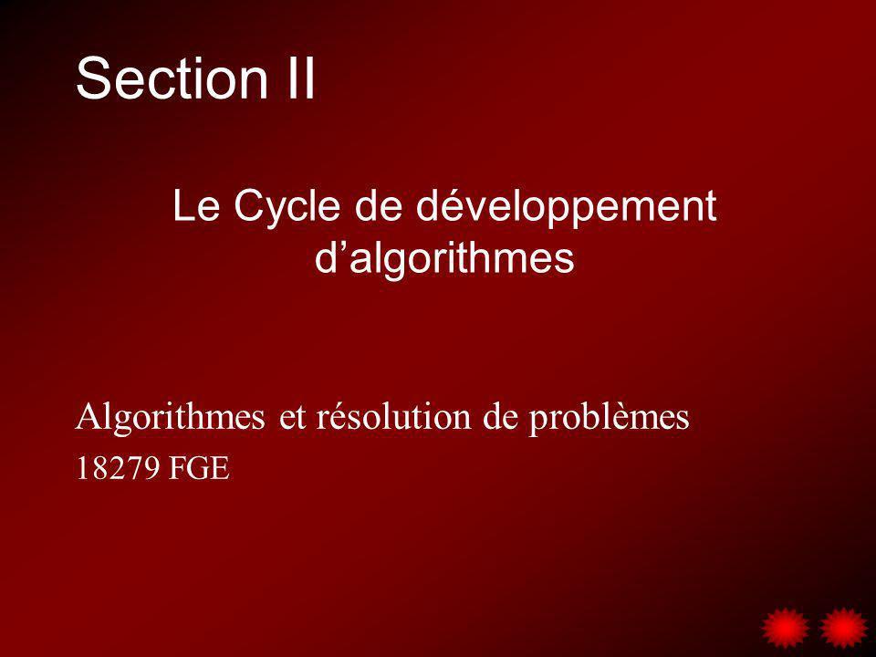 Section II Algorithmes et résolution de problèmes 18279 FGE Le Cycle de développement dalgorithmes