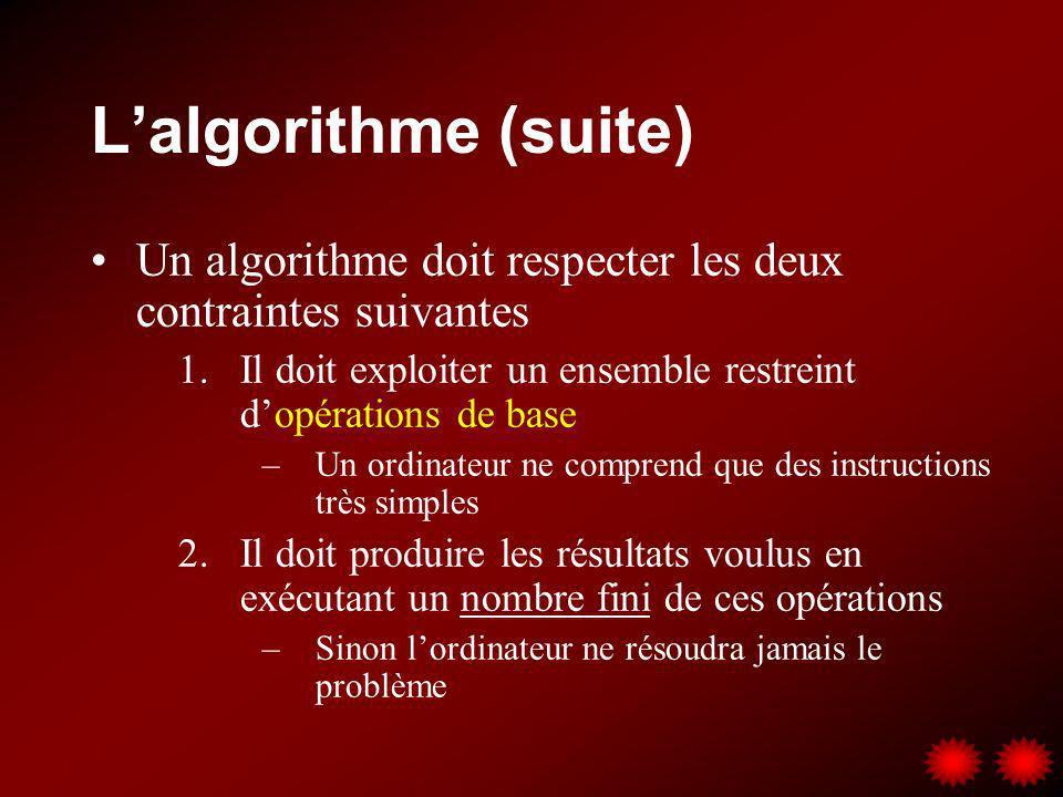 Lalgorithme (suite) Un algorithme doit respecter les deux contraintes suivantes 1.Il doit exploiter un ensemble restreint dopérations de base –Un ordi