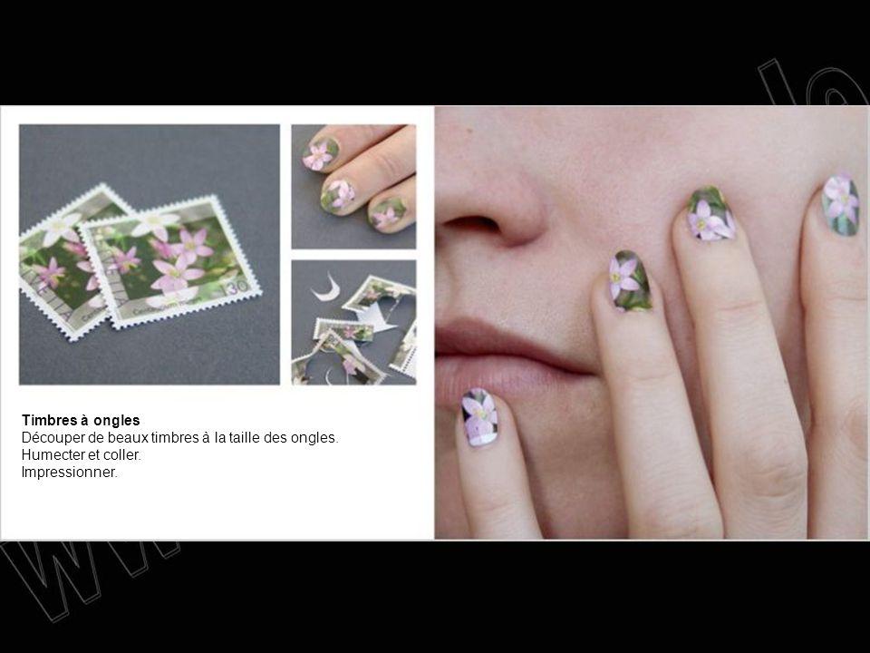 Timbres à ongles Découper de beaux timbres à la taille des ongles. Humecter et coller. Impressionner.