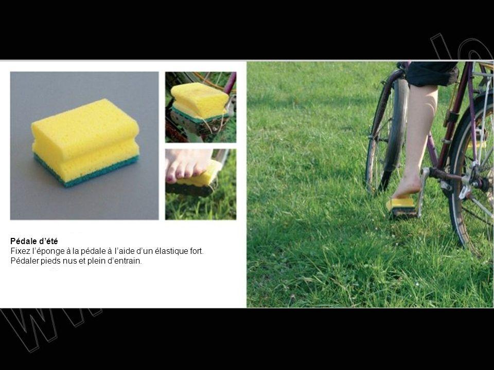 Pédale dété Fixez léponge à la pédale à laide dun élastique fort. Pédaler pieds nus et plein dentrain.