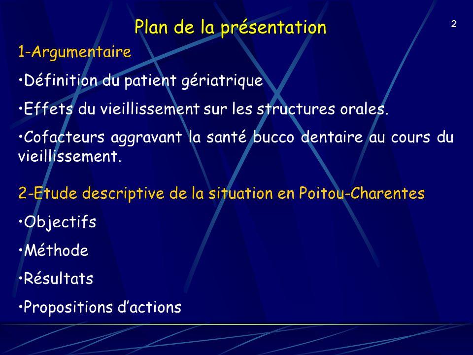 2 Plan de la présentation 1-Argumentaire Définition du patient gériatrique Effets du vieillissement sur les structures orales. Cofacteurs aggravant la