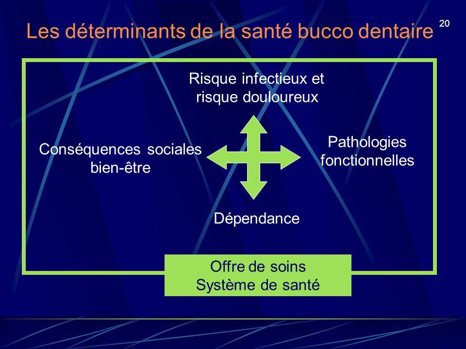 20 Les déterminants de la santé bucco dentaire Risque infectieux et risque douloureux Pathologies fonctionnelles Conséquences sociales bien-être Dépen