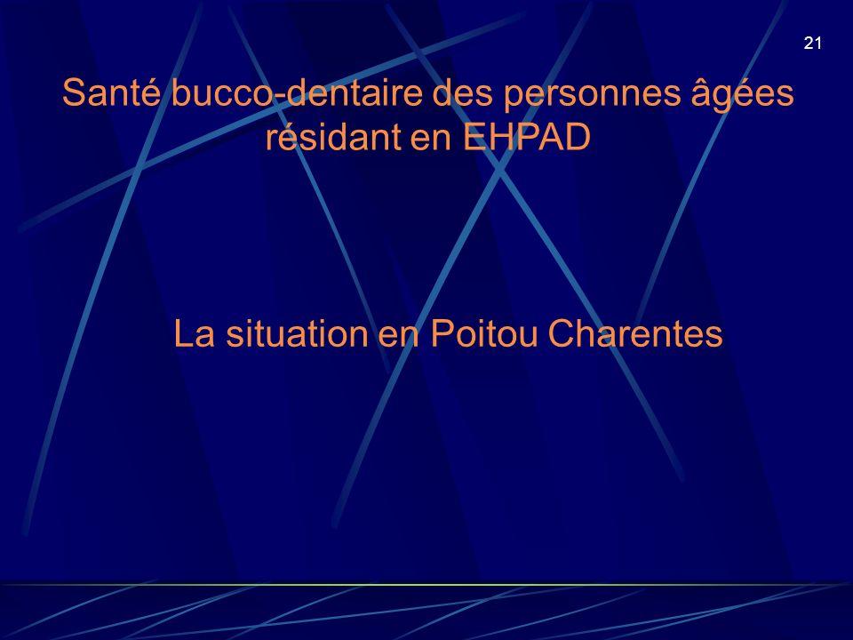 21 Santé bucco-dentaire des personnes âgées résidant en EHPAD La situation en Poitou Charentes