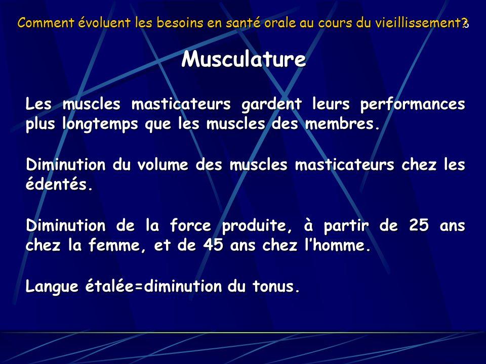 5 Comment évoluent les besoins en santé orale au cours du vieillissement? Musculature Les muscles masticateurs gardent leurs performances plus longtem