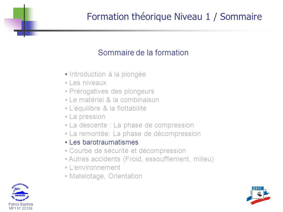 Patrick Baptiste MF1 N° 22108 Formation théorique Niveau 1 / Sommaire Sommaire de la formation Introduction à la plongée Les niveaux Prérogatives des