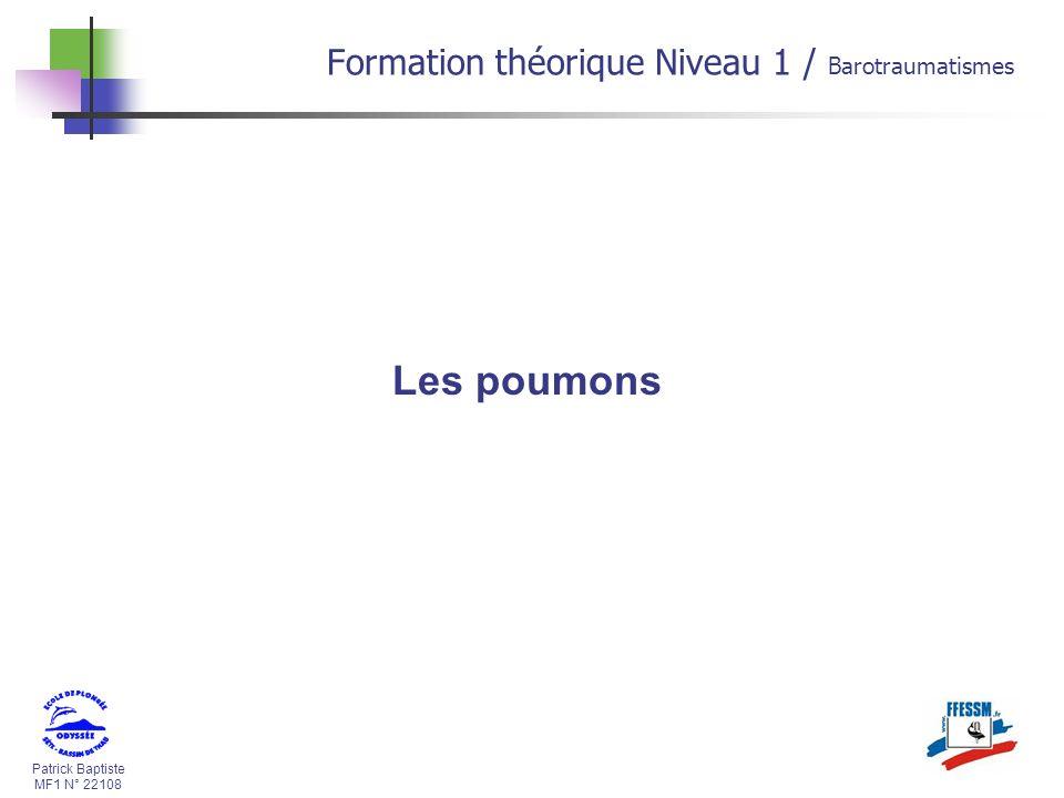 Patrick Baptiste MF1 N° 22108 Les poumons Formation théorique Niveau 1 / Barotraumatismes