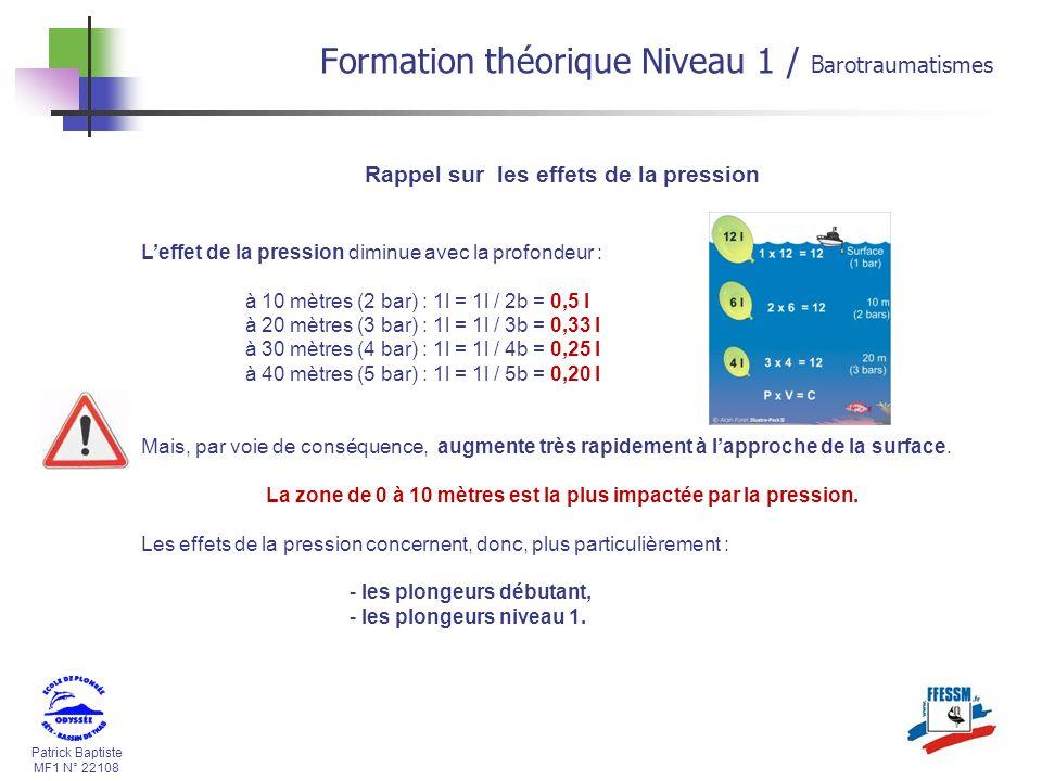 Patrick Baptiste MF1 N° 22108 Formation théorique Niveau 1 / Barotraumatismes Rappel sur les effets de la pression Leffet de la pression diminue avec
