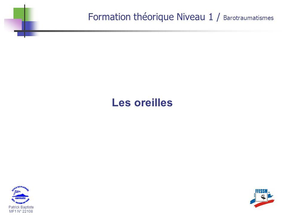 Patrick Baptiste MF1 N° 22108 Les oreilles Formation théorique Niveau 1 / Barotraumatismes