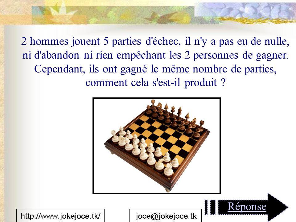 2 hommes jouent 5 parties d échec, il n y a pas eu de nulle, ni d abandon ni rien empêchant les 2 personnes de gagner.