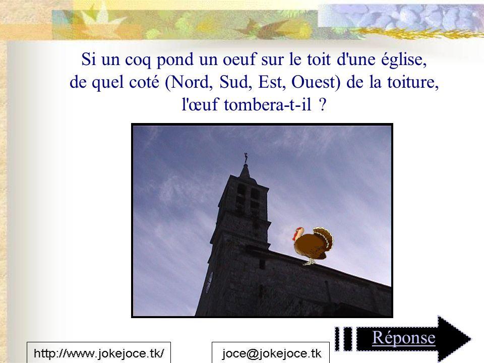 Si un coq pond un oeuf sur le toit d une église, de quel coté (Nord, Sud, Est, Ouest) de la toiture, l œuf tombera-t-il .