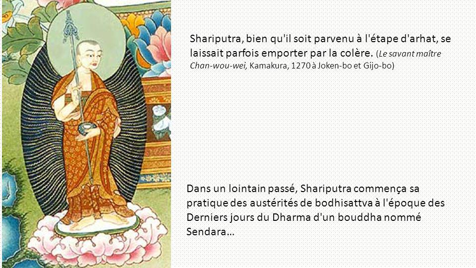 Shariputra, bien qu'il soit parvenu à l'étape d'arhat, se laissait parfois emporter par la colère. (Le savant maître Chan-wou-wei, Kamakura, 1270 à Jo
