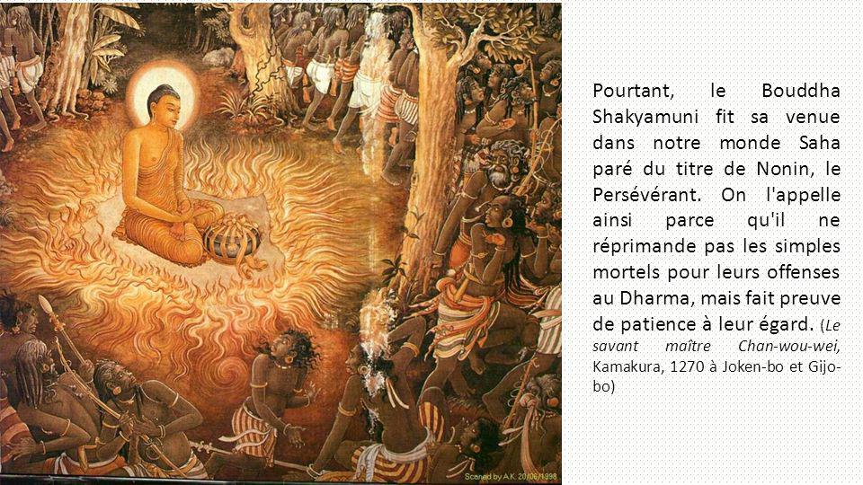 Pourtant, le Bouddha Shakyamuni fit sa venue dans notre monde Saha paré du titre de Nonin, le Persévérant. On l'appelle ainsi parce qu'il ne réprimand