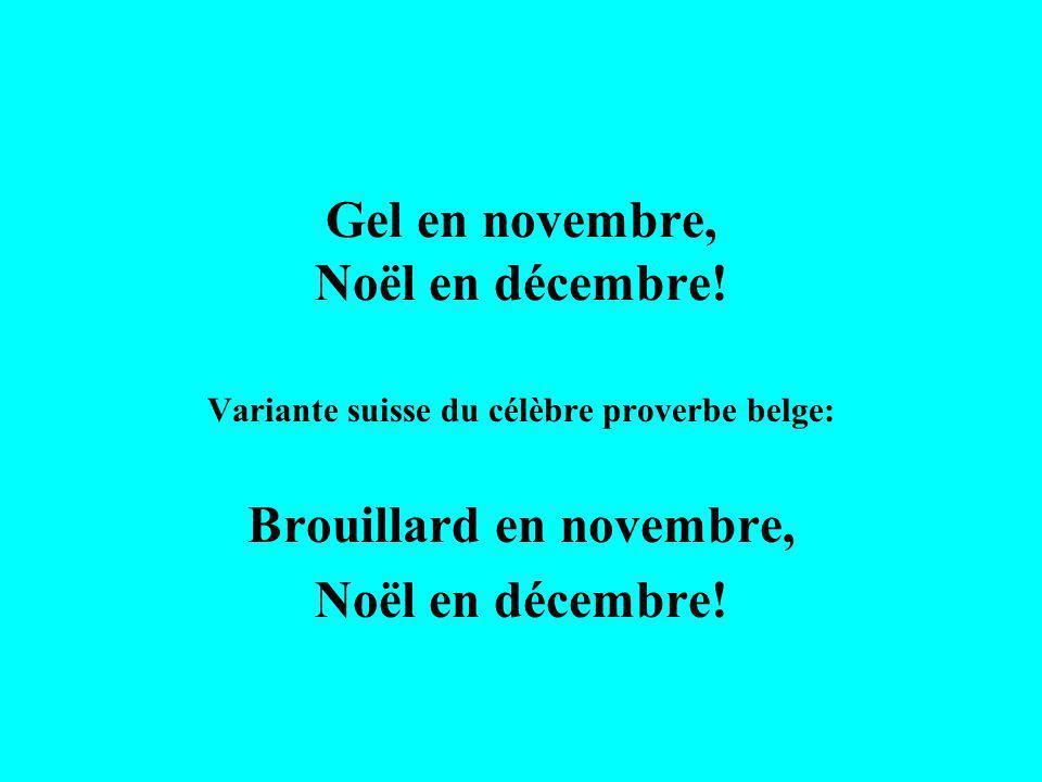 Gel en novembre, Noël en décembre! Variante suisse du célèbre proverbe belge: Brouillard en novembre, Noël en décembre!