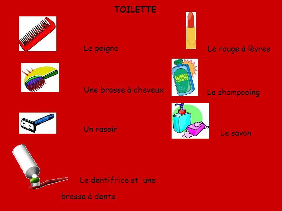 Le peigne Le rouge à lèvres Une brosse à cheveux Le shampooing Un rasoir Le savon Le dentifrice et une brosse à dents TOILETTE