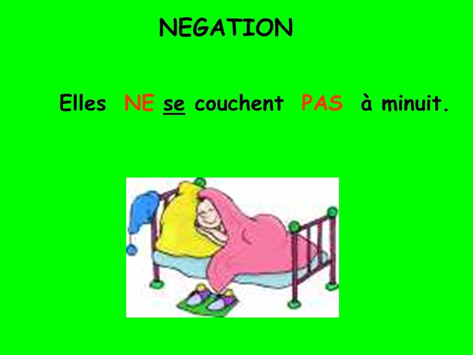 NEGATION Elles NE se couchent PAS à minuit.