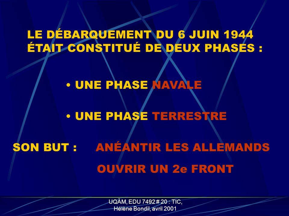 UQÀM, EDU 7492 # 20 : TIC, Hélène Bondil, avril 2001 LE CHAR DÉMINEUR FLÉAU OU CRAB EN ACTION