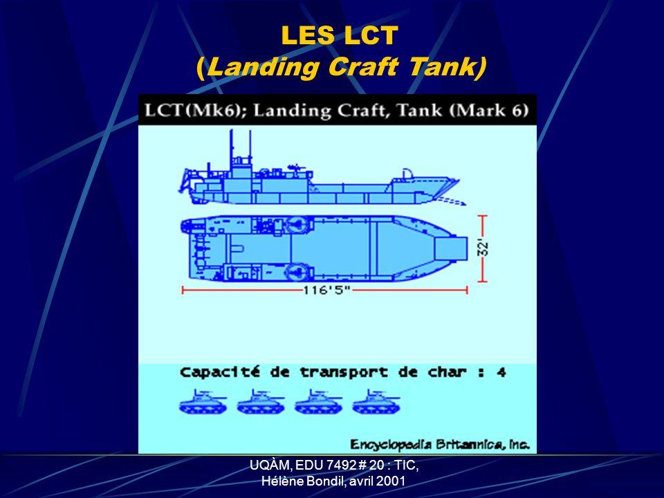 UQÀM, EDU 7492 # 20 : TIC, Hélène Bondil, avril 2001 LES LCI (L) (Landing Craft Infantry, Large)