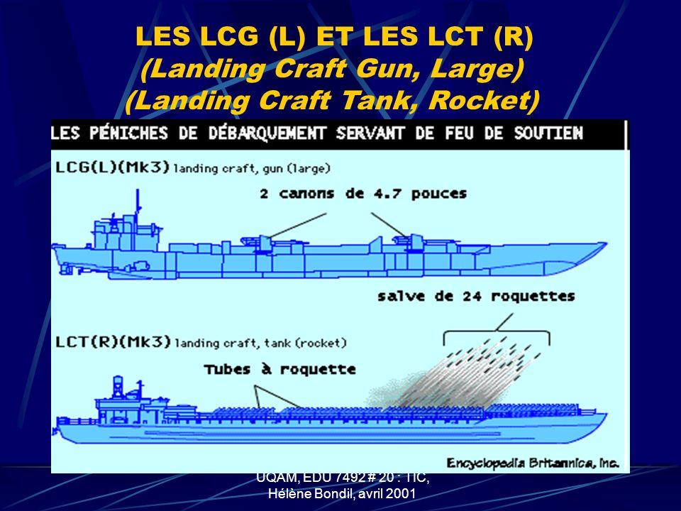 UQÀM, EDU 7492 # 20 : TIC, Hélène Bondil, avril 2001 LES LCT (Landing Craft Tank)