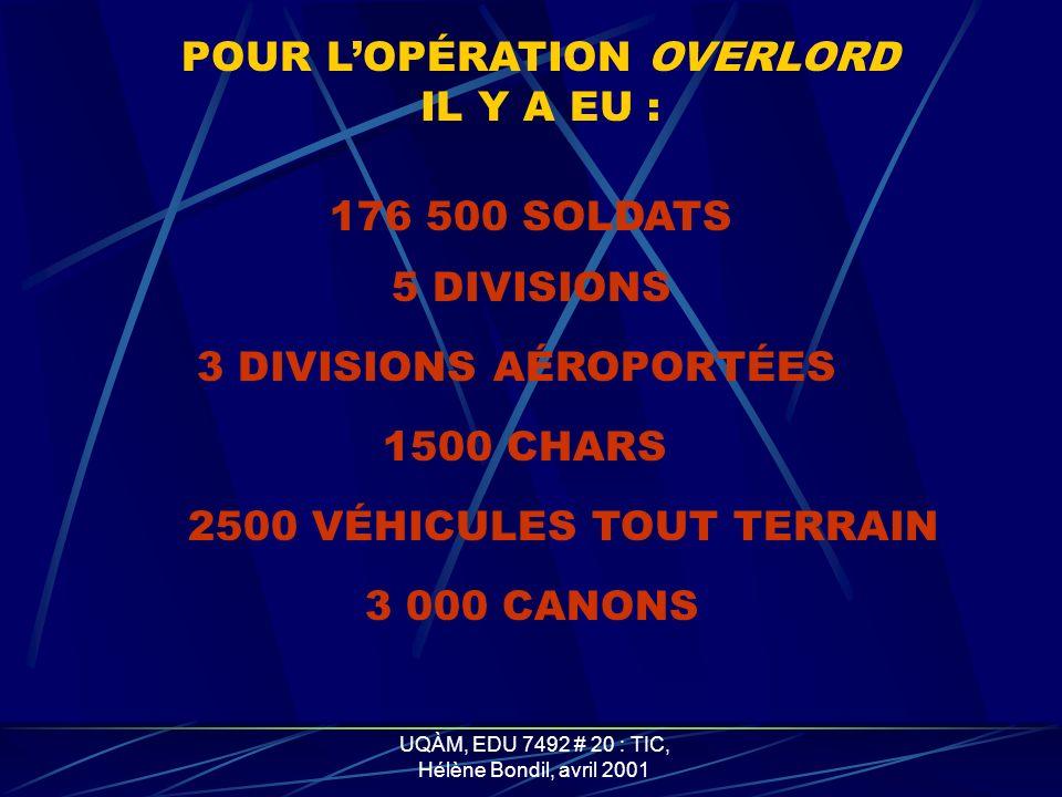 UQÀM, EDU 7492 # 20 : TIC, Hélène Bondil, avril 2001 POUR LOPÉRATION OVERLORD IL Y A EU : 176 500 SOLDATS 5 DIVISIONS 3 DIVISIONS AÉROPORTÉES 1500 CHARS 2500 VÉHICULES TOUT TERRAIN 3 000 CANONS