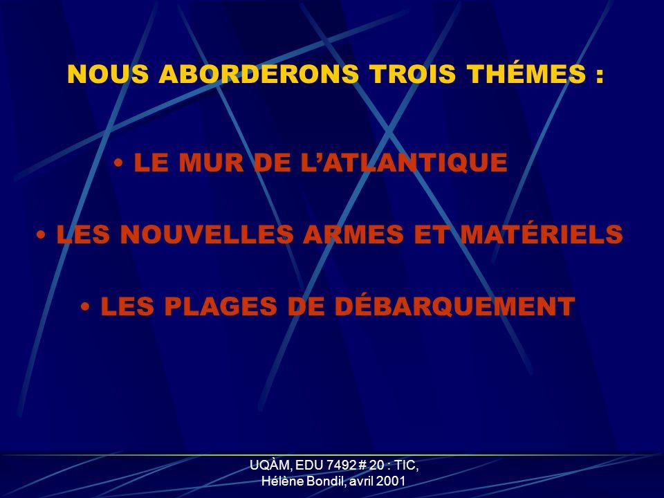 UQÀM, EDU 7492 # 20 : TIC, Hélène Bondil, avril 2001 LES POSTES DE DIRECTION DE TIR