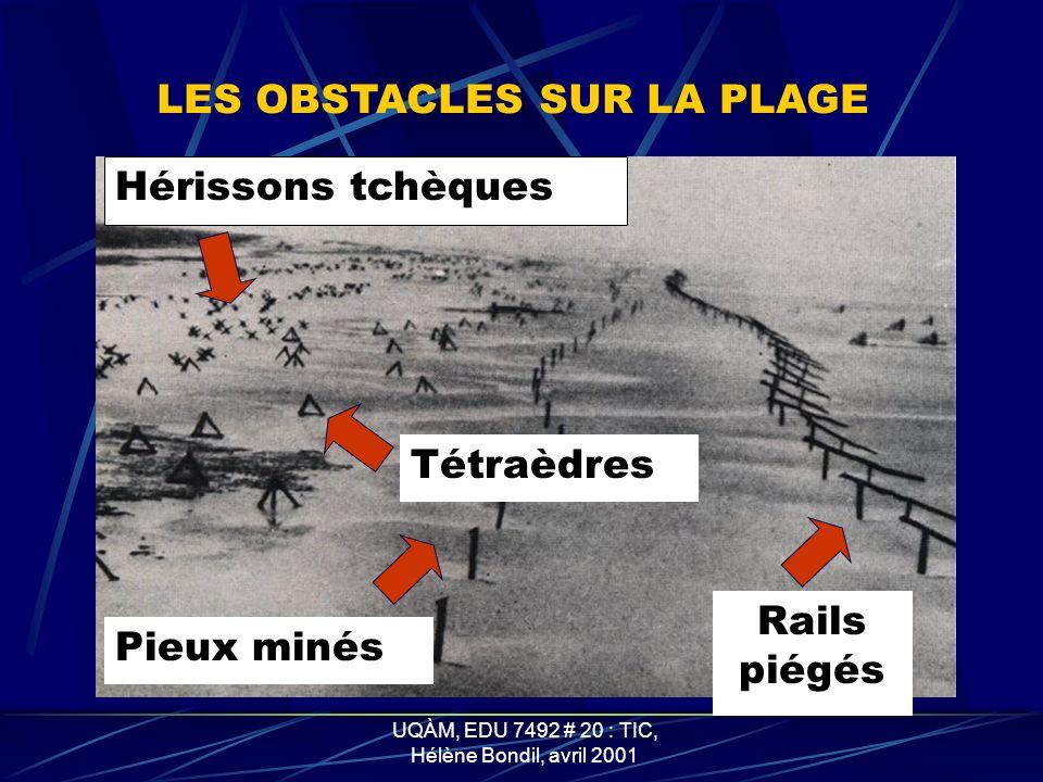 UQÀM, EDU 7492 # 20 : TIC, Hélène Bondil, avril 2001 LES OBSTACLES SUR LES PLAGES