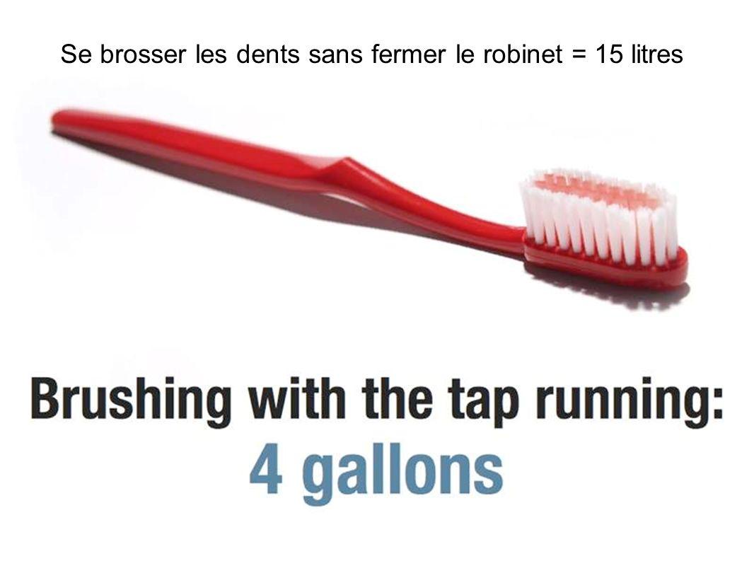 Se brosser les dents sans fermer le robinet = 15 litres