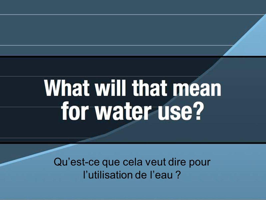 Quest-ce que cela veut dire pour lutilisation de leau ?