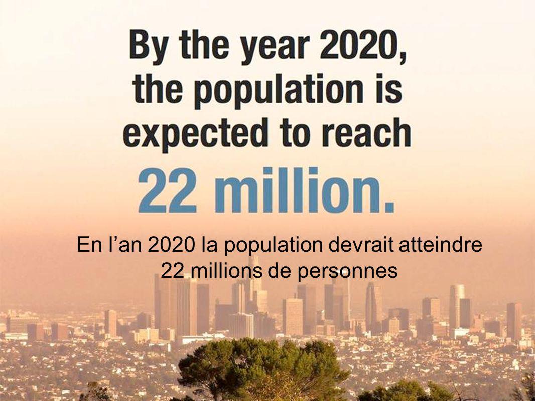 En lan 2020 la population devrait atteindre 22 millions de personnes